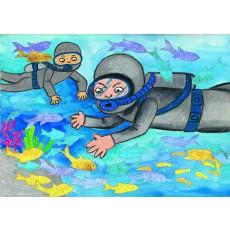 상황표현7 잠수부와물고기들(반짝이 색종이에 이쑤시개로 무늬표현하기)